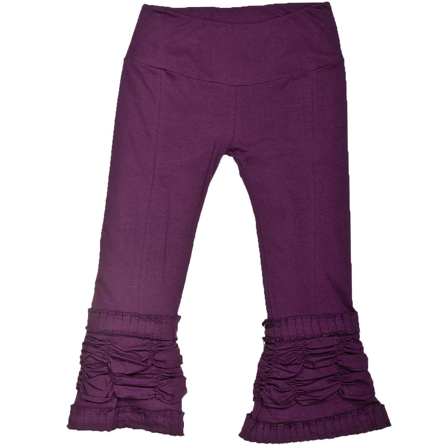 Lady Pirate's Fancy Berry Purple Ruffle Ruched Capri Pants - DeluxeAdultCostumes.com
