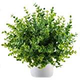 MIHOUNION 4 Bunches Realistic Artificial Plants Spring Green Eucalyptus Leaves Artificial Plastic Shrubs for Outdoor Home Kitchen Garden Table Grave Easter Decorations