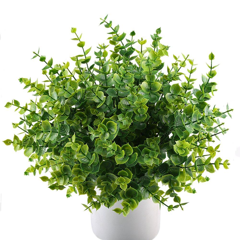 MIHOUNION 4 mazzi Piante artificiale arbusti falso finte plastica piante verde foglie di eucalipto Home Kitchen Garden Outdoor Craft Floral Arranging decori