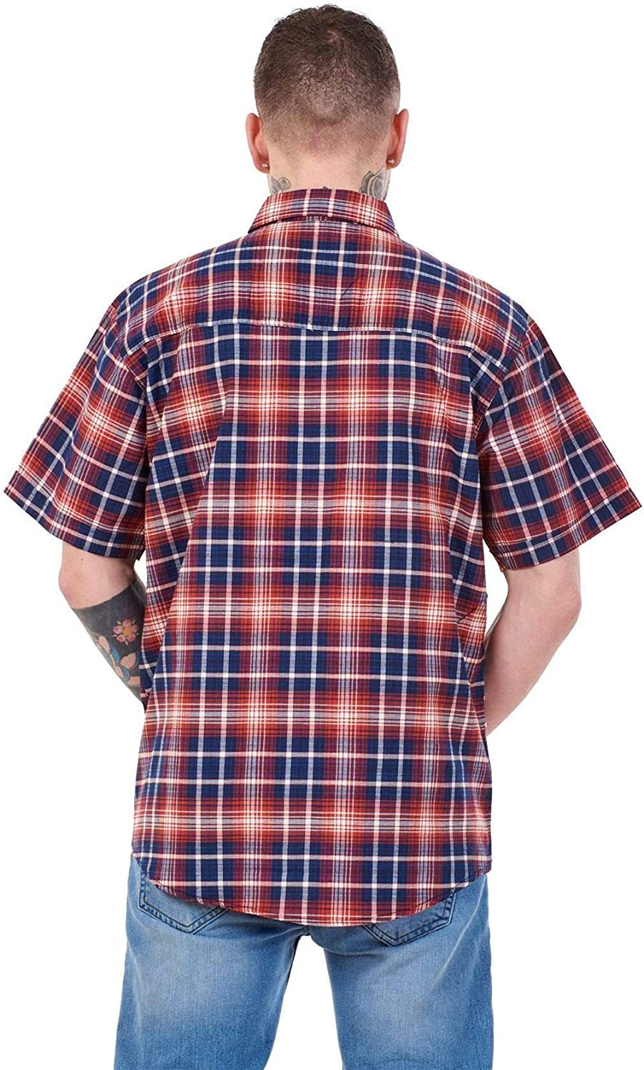 Apparel Mens Regular Big Size Shirts Checked Cotton Blend Casual Short Sleeve Blue M-5XL Red Navy