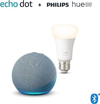 Nuevo Echo Dot (4.ª generación), Azul grisáceo + Philips Hue Bombilla Inteligente (E27), compa...