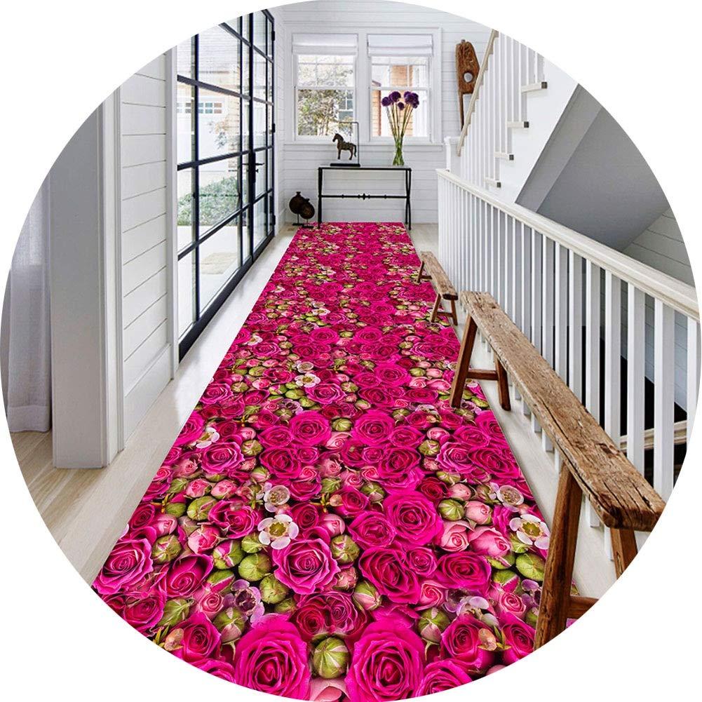 ZHWEI じゅうたん 廊下のカーペットロング ランナー ラグ 滑り止め 廊下敷きカーペッ 通路 エントランス 敷物 フロアマット3D 紫のバラ 設計 耐摩耗性 化学繊維 現代の 厚さ5mm、 複数のサイズ (Color : A, Size : 1.3x3m) B07T5ZBS7C A 1.3x3m