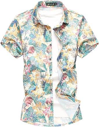 MOGU Camisa Estampada de Flores para Hombres Camisa Casual de Manga Corta con Botones: Amazon.es: Ropa y accesorios