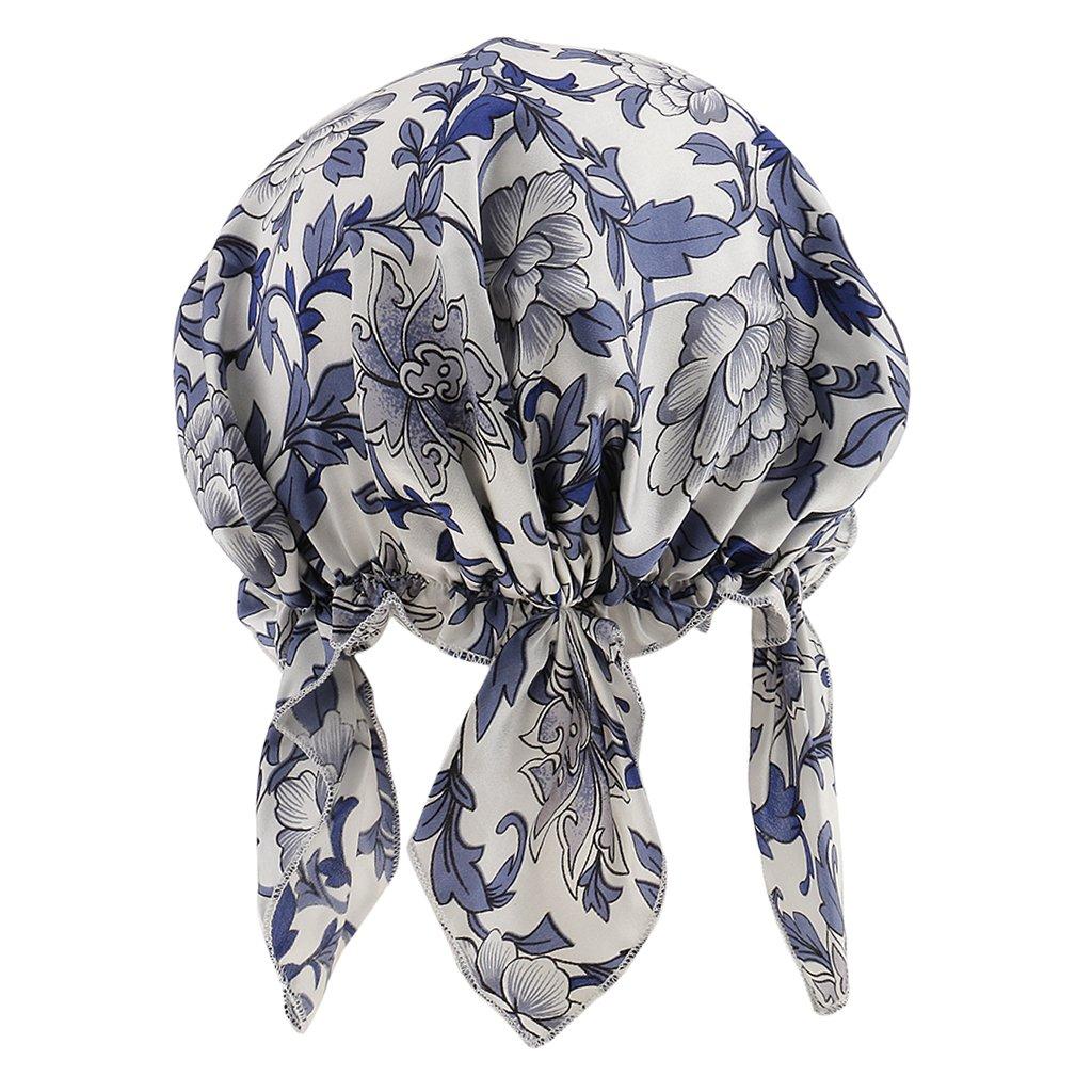 MagiDeal Cappello di Protezione di Capelli di Notte in Seta Cappellino Berretto Copricapo Head Cover Cap - Blu