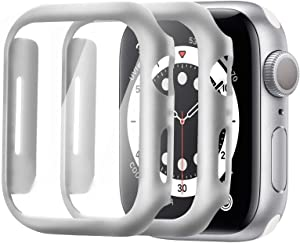 Alinsea Screen Protector for Apple Watch 44mm Series 4/5/6/ SE Tempered Glass [2 Pack] [Full Coverage] Bumper Hard Case [with Screen Protector Built-in] Overall Protective Cover-Silver