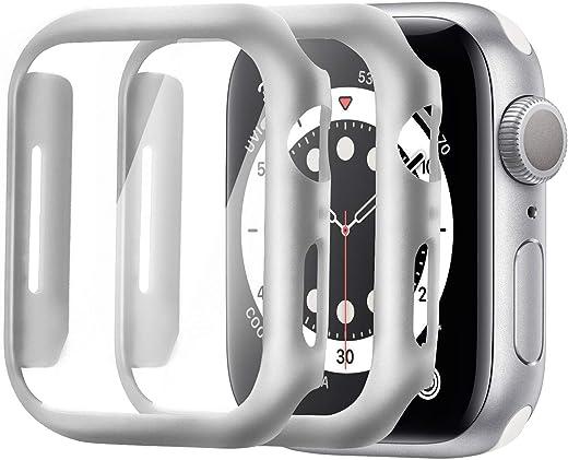 واقي شاشة Alinsea لساعة Apple Watch 40mm Series 4/5/6/ SE من الزجاج المقسى [عبوتان] [تغطية كاملة] جراب صلب ممتص للصدمات [مع واقي شاشة مدمج] غطاء واقي شامل، فضي