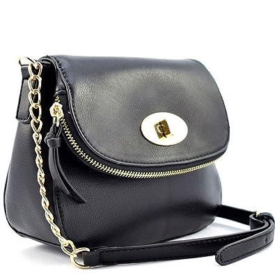 e4ef147922bb Designer Inspired Fashion Twist Lock Crossbody Bag - Black  Handbags   Amazon.com