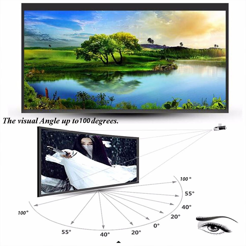 Cewaal プロフェッショナルポータブルプロジェクタースクリーン、60インチ対角16:9比プロジェクタースクリーン素材マットホワイト生のPVC素材ファブリックは、レギュラーとアクティブの両方の3D映画に最適 60