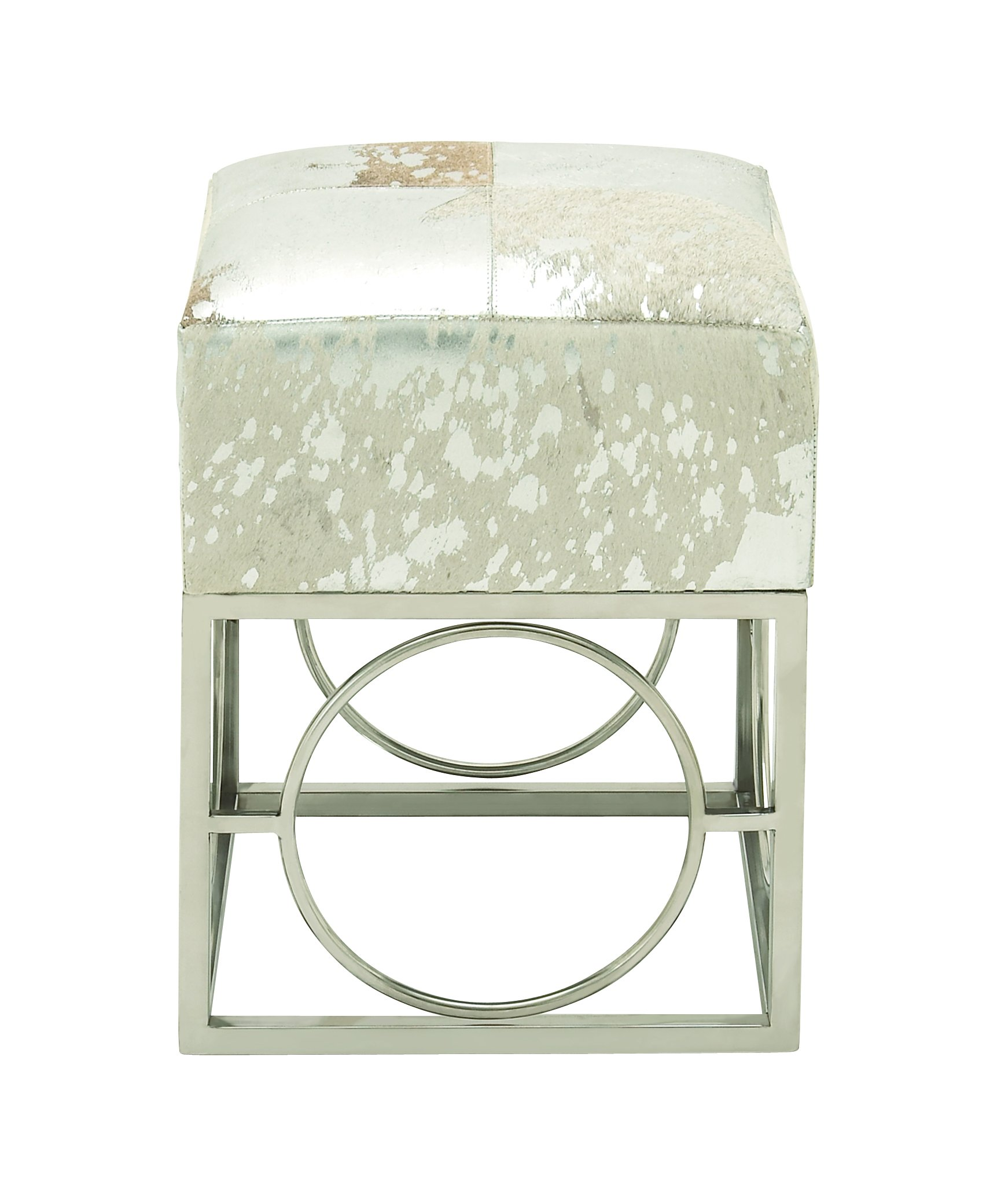Deco 79 95942 Stainless Steel Leather Hide Silver Stool, 16'' x 22''