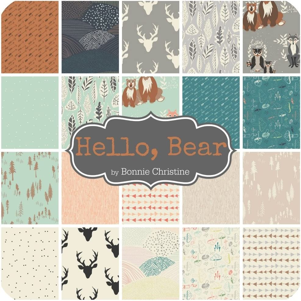 BC.HB.40CP Bear Charm Pack 5 Hello by Bonnie Christine for Art Gallery