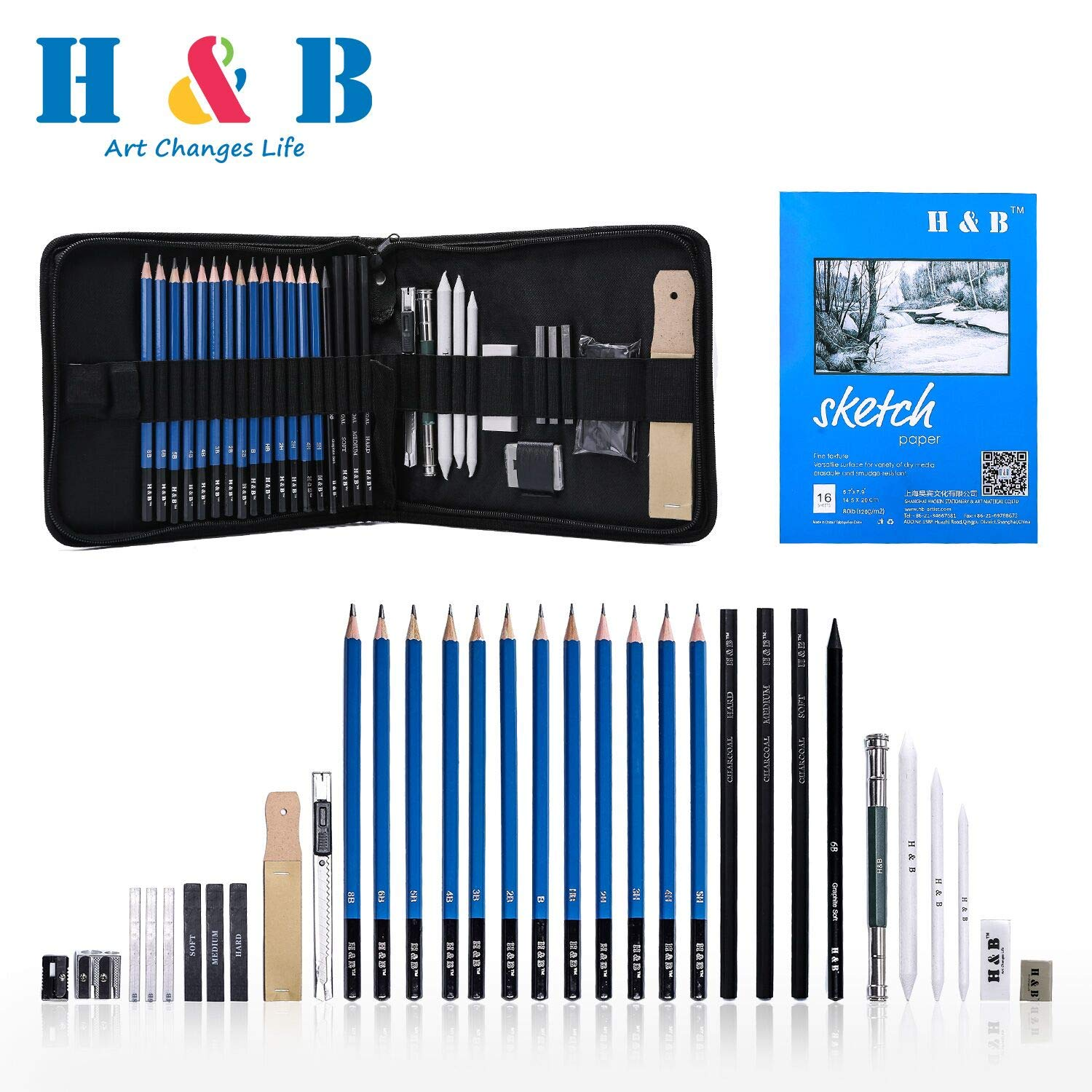 Amazon com h b sketching pencils set drawing and sketch kit 33 piece set with pencilserasersgraphite sticksandpaper blockpencil sharpener arts