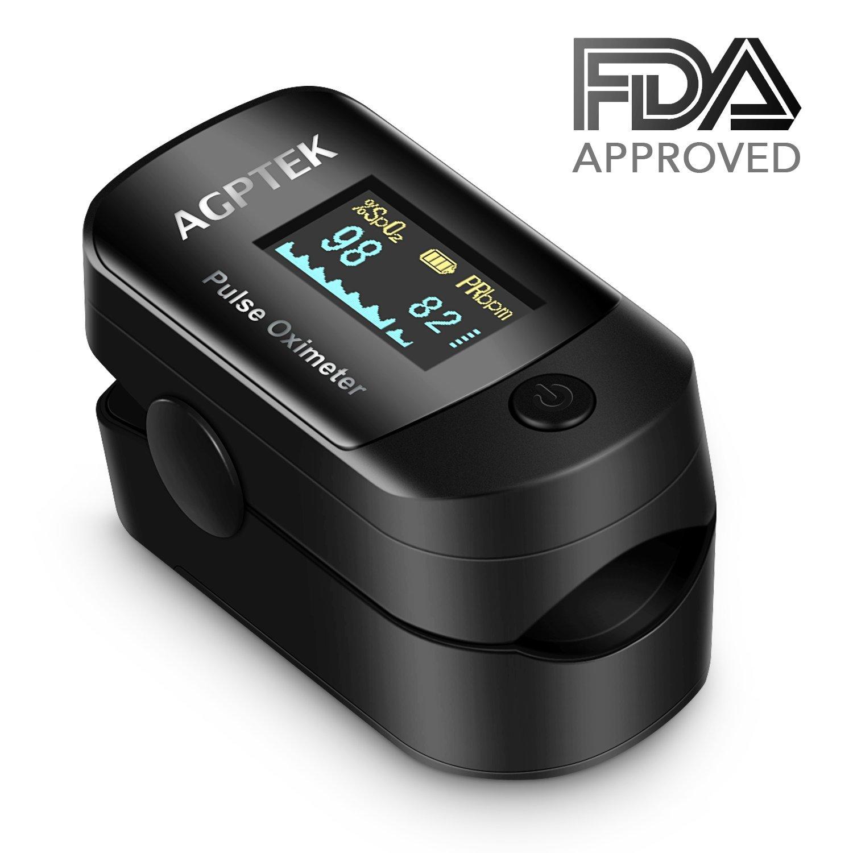 Oxímetro de Pulso de AGPTEK, Pulsioxímetro de Dedo y Monitor de Frecuencia Cardíaca con Pantalla OLED, Alarma y Función de Auto-Apagado ect., Color Negro