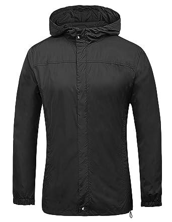 PAUL JONES Men's Outdoor Lightweight Waterproof Rain Jacket Coat ...