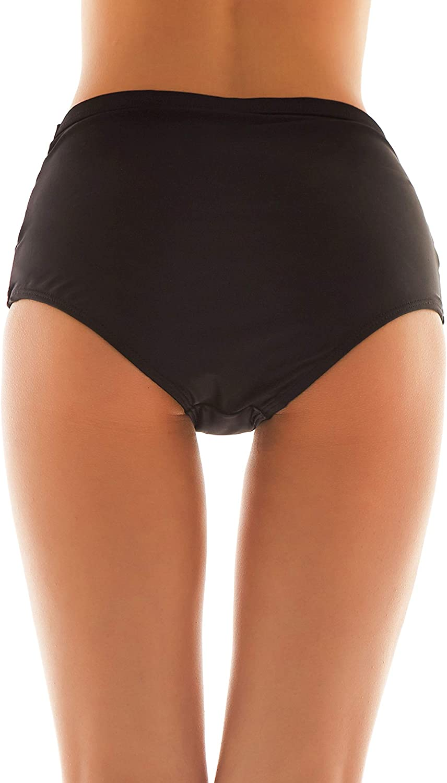 SHEKINI Damen Badeanzug Schwarze bauchweg Badeshorts Hohe Taille Abdominal Kontrolle Ruched Bikini Hose Volltonfarbe Retro Badehose Bikini H/öschen