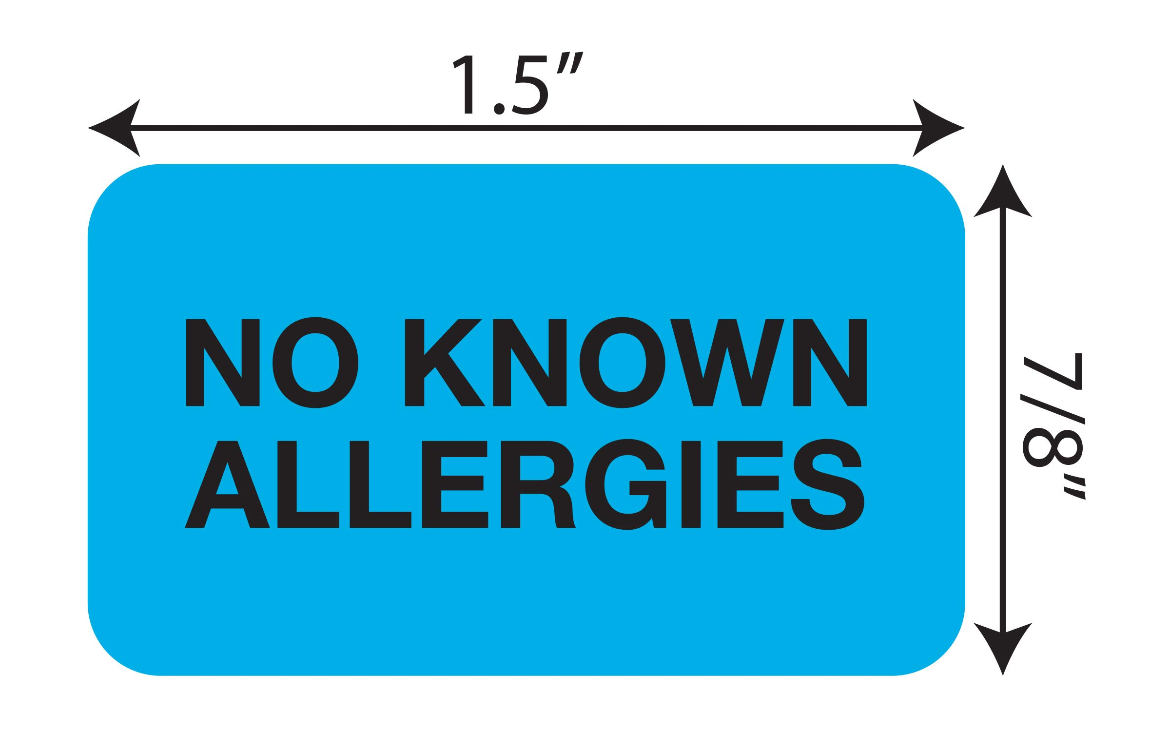 """Tabbies Medical Allergy Label, Light Blue, 1-1/2″W x 7/8″H,""""NO Allergies"""" 250 Labels/Roll (MAP1510)"""