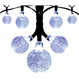 Innoo Tech Solar Globe String Lights Outdoor Lights 19.7ft 30 Led Christmas String White Crystal Ball Decoration for Patio ,Garden ,Wedding,Party,Bedroom