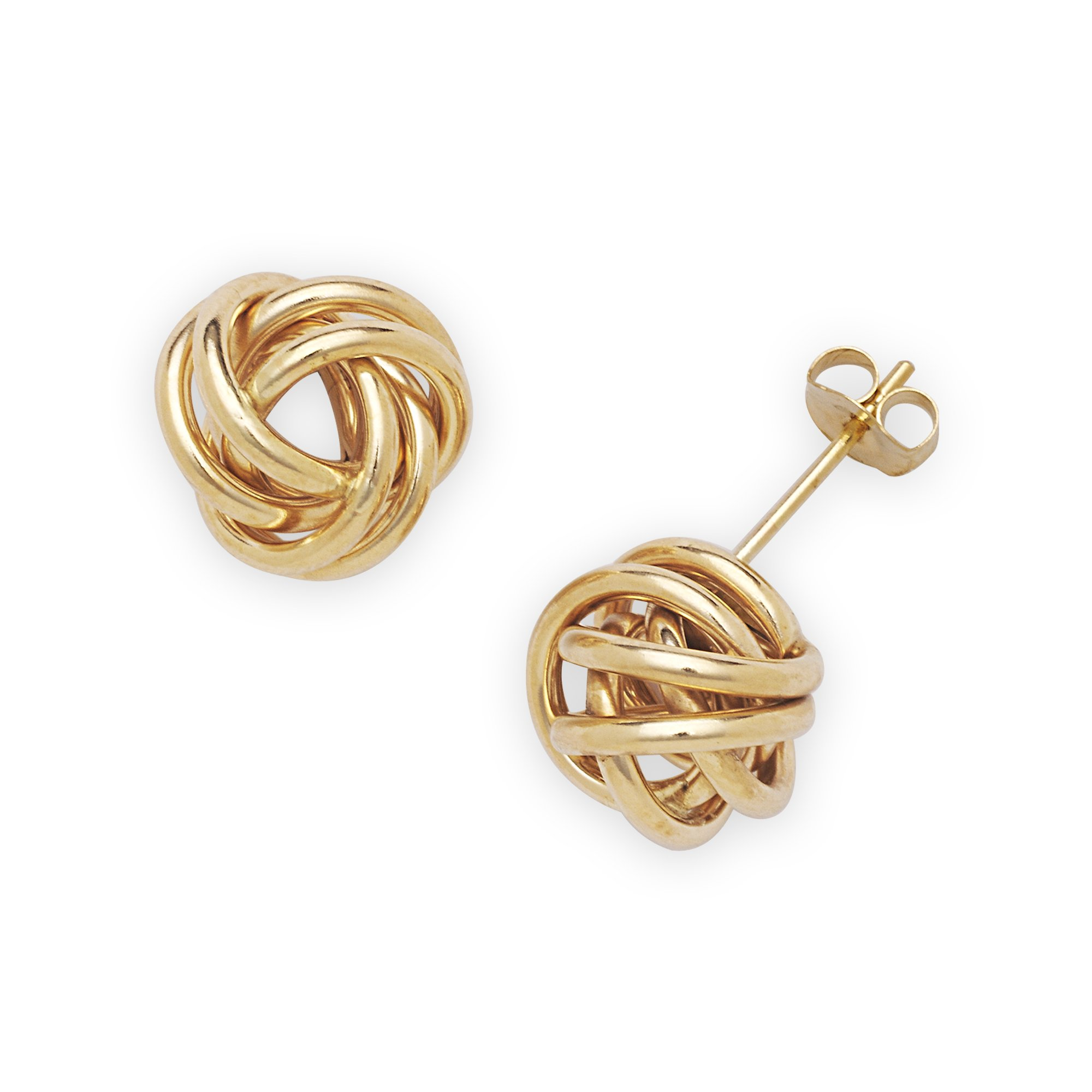 14k Gold 10mm Wire Love-Knot Stud Earrings (yellow-gold or white-gold) (Yellow)