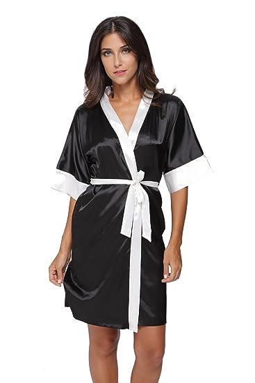 The Bund Women s Sexy Short Satin Robe Lingerie Sleepwear Black XXL ... b386e06f7