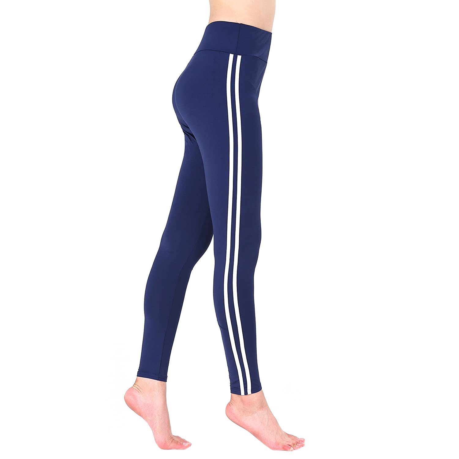 Nuofengkudu Women Stripe Yoga Leggings Stretch Comfortable