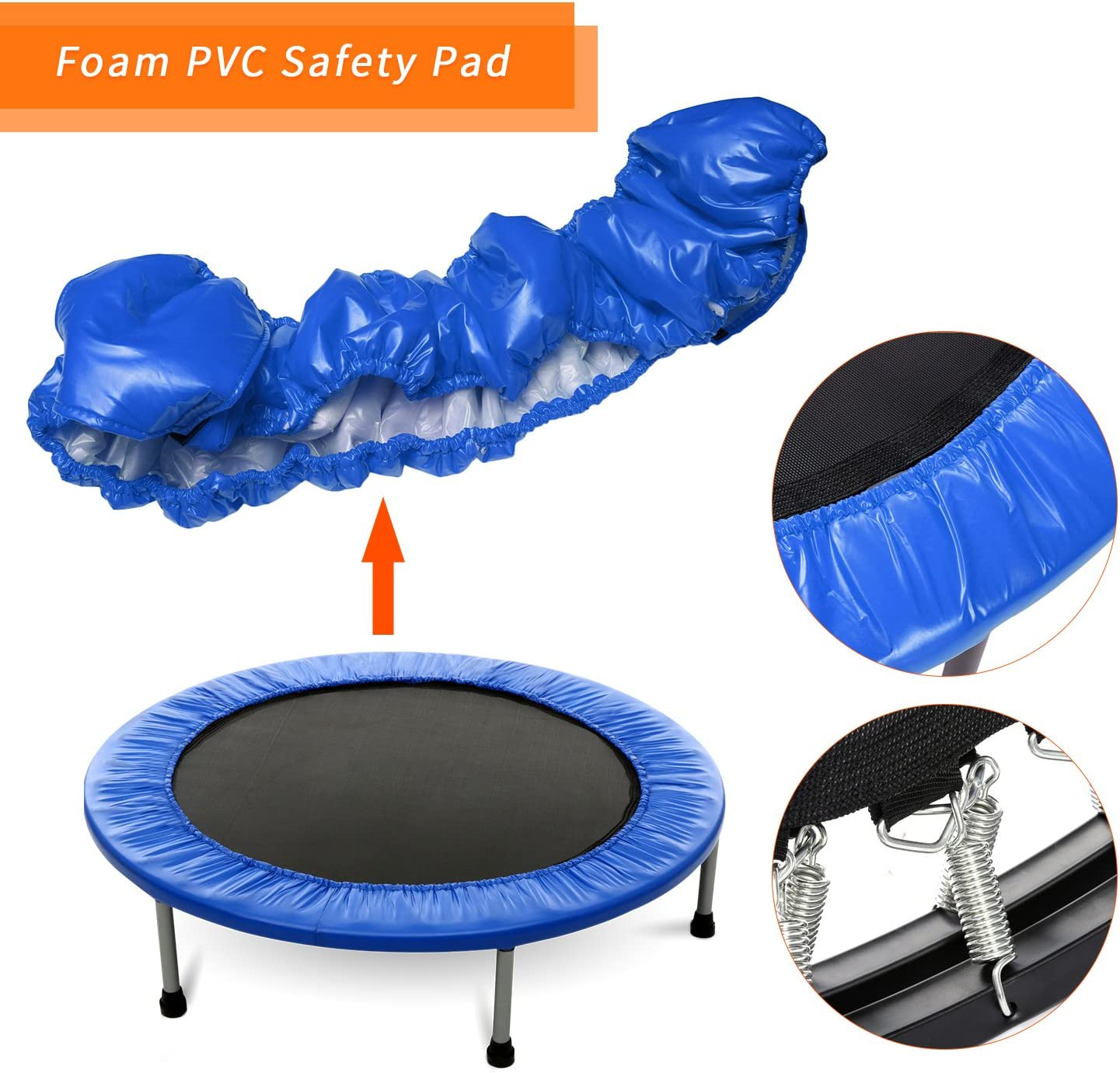 Rebounder Trampoline for Indoor Garden Workout Cardio Training ANCHEER 38 Foldable Fitness Trampoline,Mini Trampoline for Adults and Kids Blue Max Load 220lbs