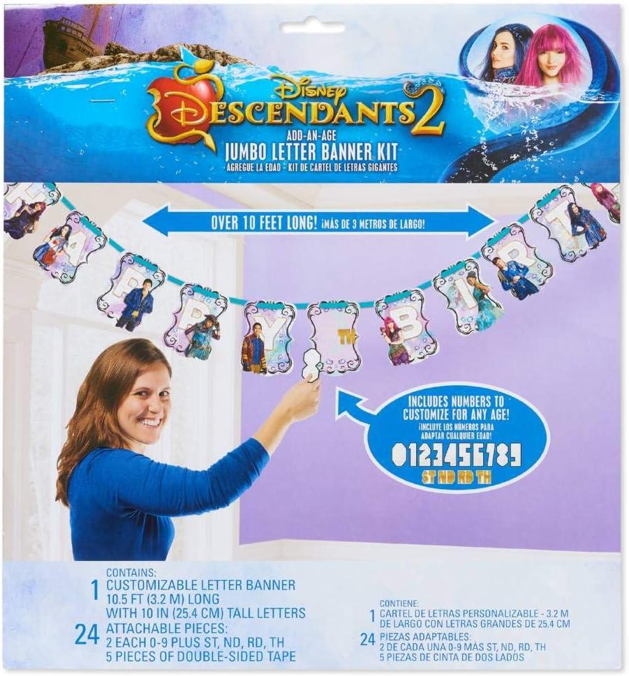 Descendants 2 Add an Age Happy Birthday 1x Jumbo Letter Banner Kit