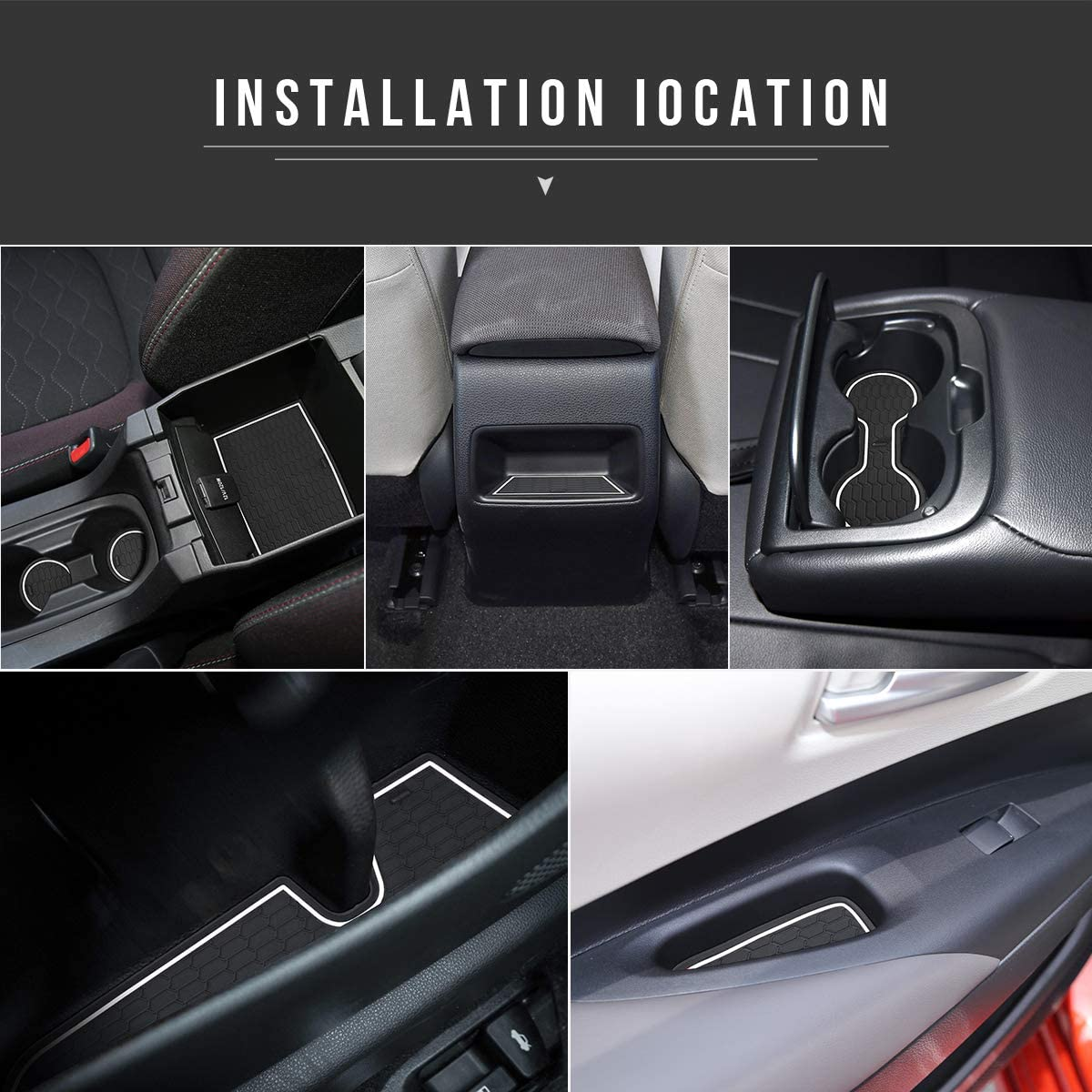 Auovo Anti Dust Mats for Toyota Corolla Hatchback 2019 2020 2021 Accessories Custom Fit Cup Holder Inserts Door Liners 11pcs//Set White