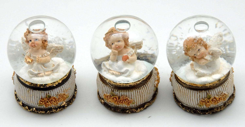 23017683x 3er Set s/ü/ße Mini-Schneekugeln Engel auf Nostalgie-Rosen Sockel Durchmesser 45mm mit Luftblase
