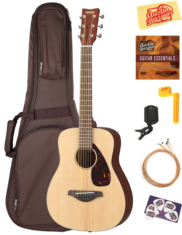 Yamaha JR2 1/2-Size Acoustic Guitar - Natural Bundle with Gig Bag, Tuner, Strings, String Winder, Picks, Austin Bazaar Instructional DVD, and Polishing Cloth