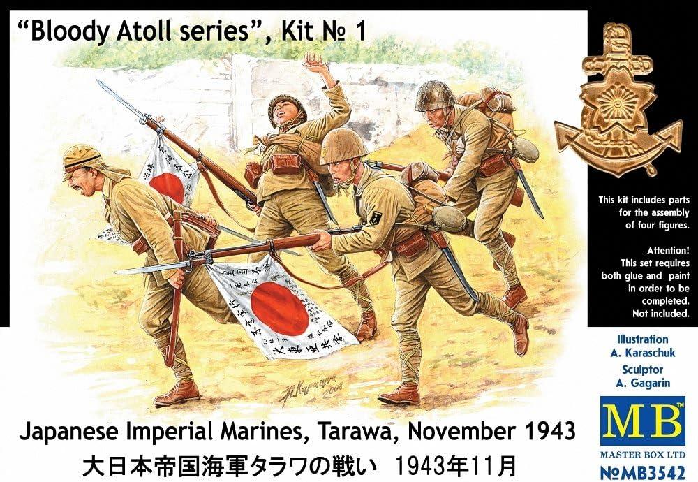 Master Box Japanese Naval Landing Force Tarawa 1943 (4) Figure Model Building Kits (1:35 Scale)