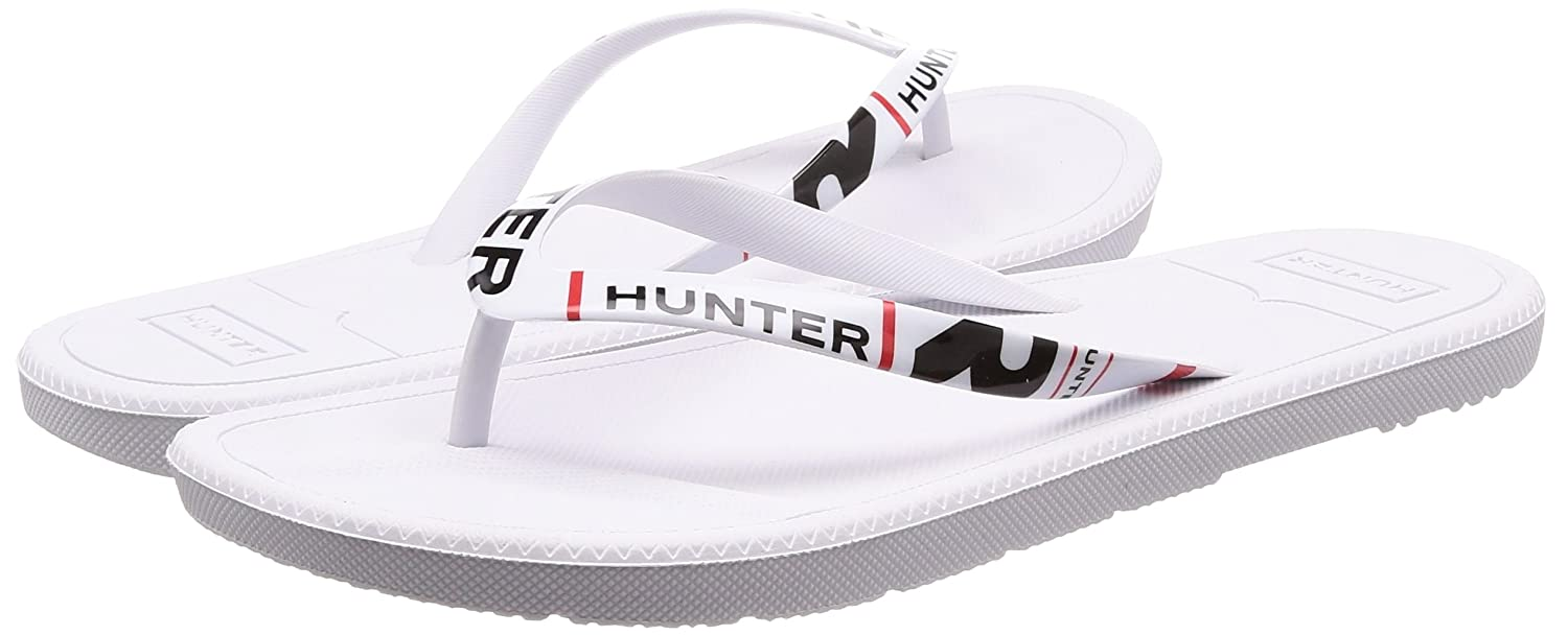 9b9bc64f0 Hunter Mens White Original Exploded Logo Flip Flops  Amazon.co.uk  Shoes    Bags