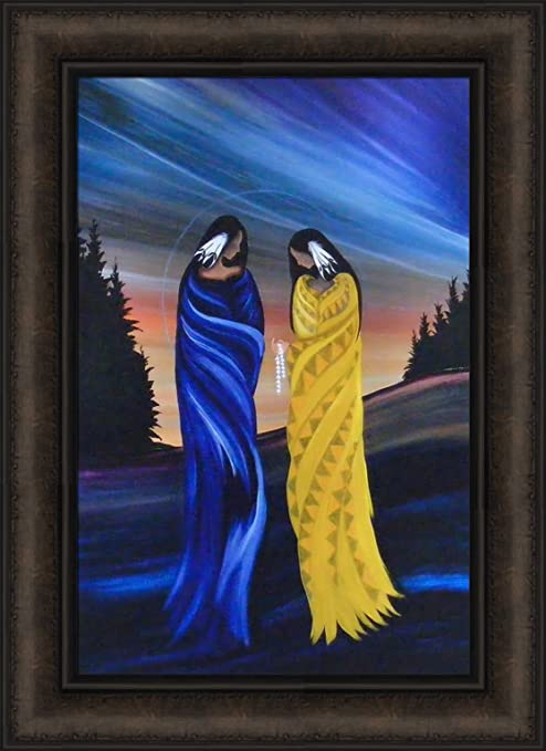 APRIL MOON by Betty Albert 16x22 FRAMED ART PRINT Native American Indian Woman