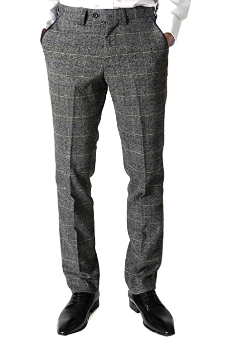 1920s Style Women's Pants, Trousers, Knickers Marc Darcy Mens Designer Grey Multi Tonal Check Tweed Trouser £48.99 AT vintagedancer.com