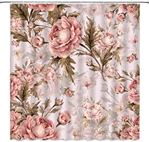 Jingjiji Floral Shower Curtain Pink Watercolor Peony Flower Spring Blooming Green Leaves Plant Print Bathroom Decoration Curtains Polyester Fabric Waterproof with Hook 70 x 70 Inch