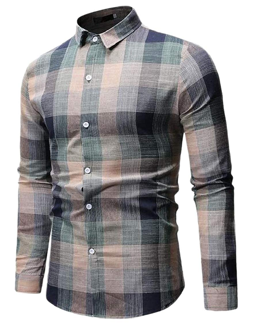 H.Wang Mens Long Sleeve Slim Fit Plaid Dress Shirt Western Button Up Shirt