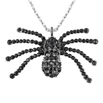 Boland Halskette mit Medallion Talisman Spinne Schwarze Witwe Taglia Unica silber//schwarz