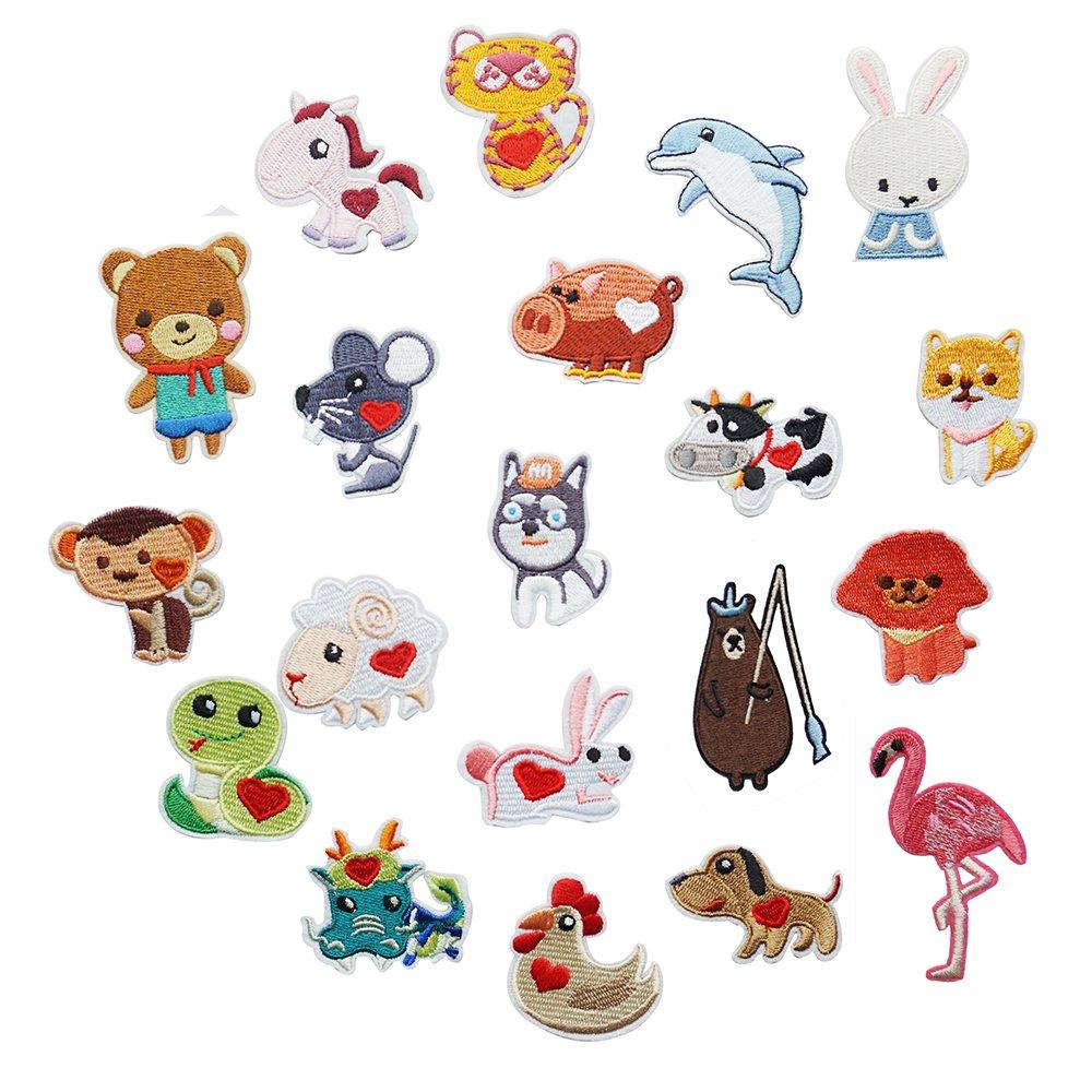 20Pcs ricamato toppe animali cane/Flamingos/Rabbit Appliques per abbigliamento Iron On or Sew on patch applique Shoulashous