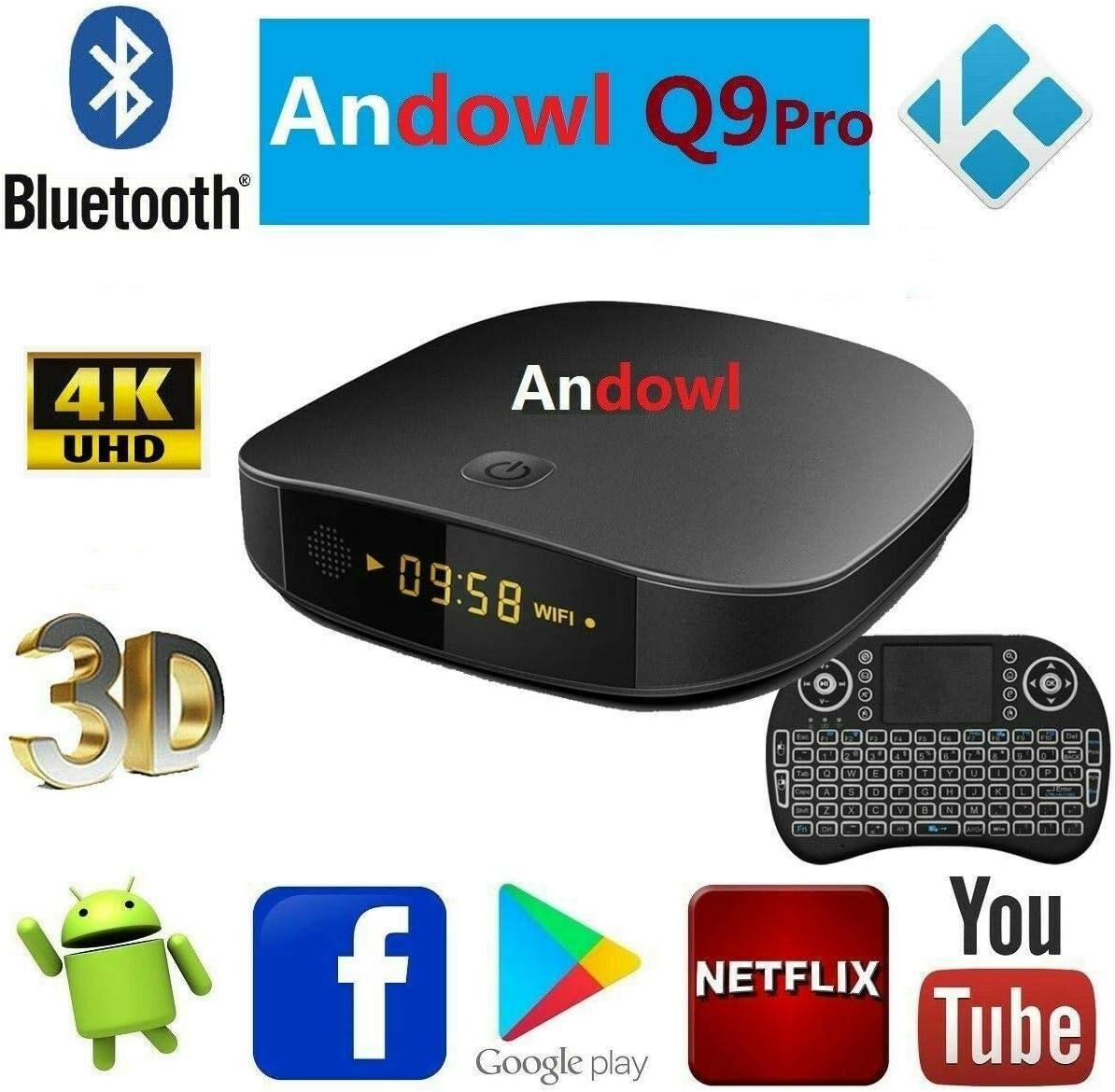 Smart TV Box ANDOWL Q9 Pro Android 7.1.2 4K 4GB RAM 32 GB ROM IPTV con Teclado 5-Wireless: Amazon.es: Electrónica