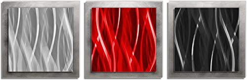 Red and Silver Metal Art Red Black Silver Essence – Layered Multi-Panel Wall Sculpture, Versatile Warm Tones Contemporary Modern Home Decor