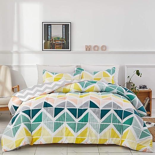Amazon.com: Uozzi Bedding Colorful Comforter Set King Size Yellow