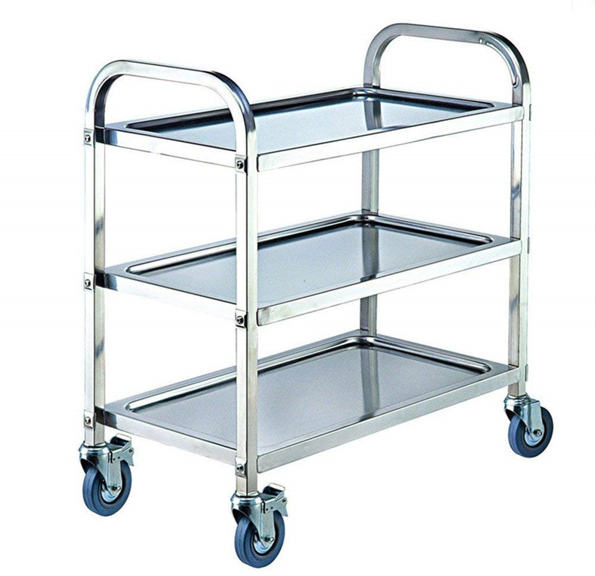 ybaymy 2 Tiers Rolling Trolley Cart Serving Rack Stainless Steel for ...