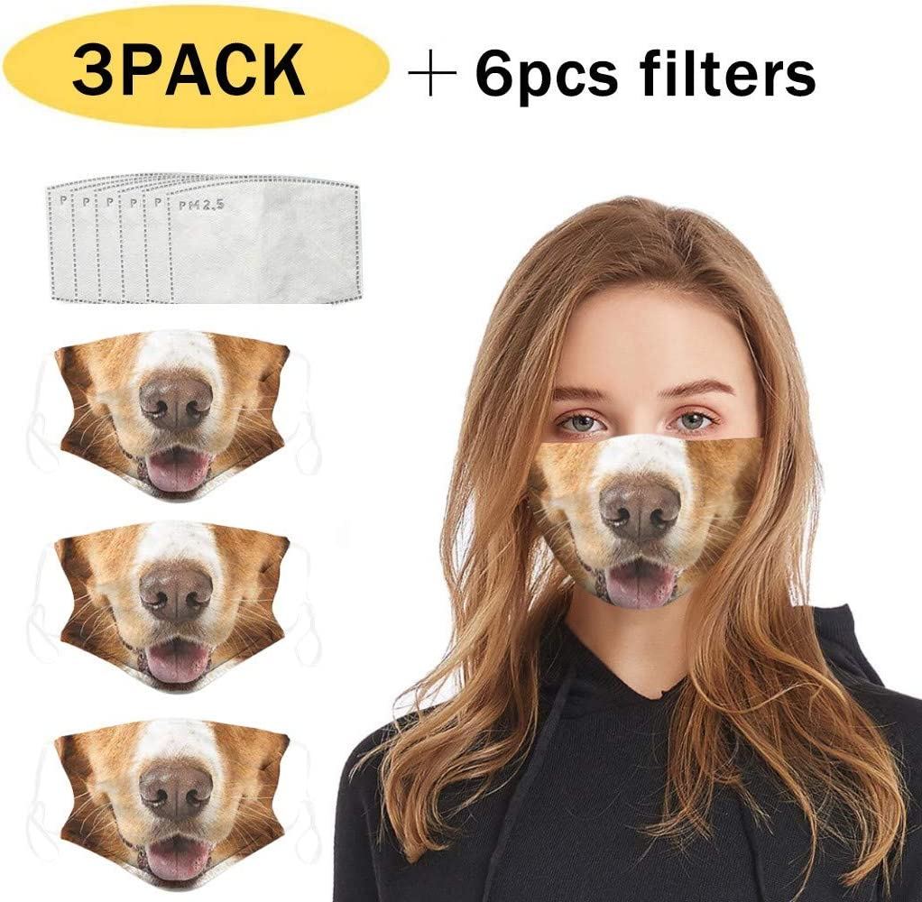 3PC Cute Dog Print Face Cotton Bandanas,yxcmeoa Adult Outdoor Anti-Dust Double-layer with 6 Filter Black-3PC+6Filter