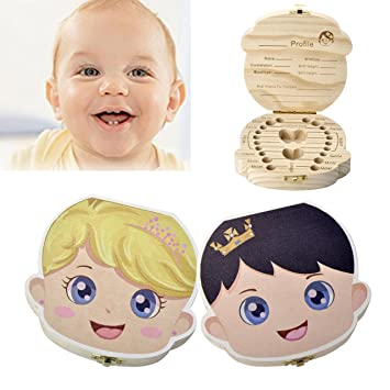 Baby Tooth Box by NASHRIO Cute Children Tooth Container with Tweezers to Keep the Childwood Memory Wooden Kids Keepsake Organizer Gift for Baby Teeth Boy