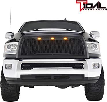 Tidal Replacement Upper ABS Grille Front Hood Grill With Amber LED Lights Matte Black for 14-15 GMC Sierra 1500