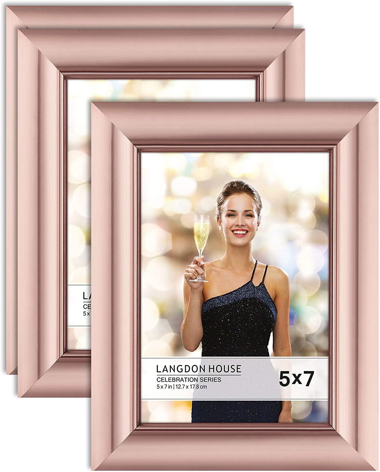 Langdon House 5x7 Picture Frames (Rose Gold, 3 Pack), Contemporary Glam Photo Frames 5 x 7, Wall Mount or Table Top, Celebration Collection