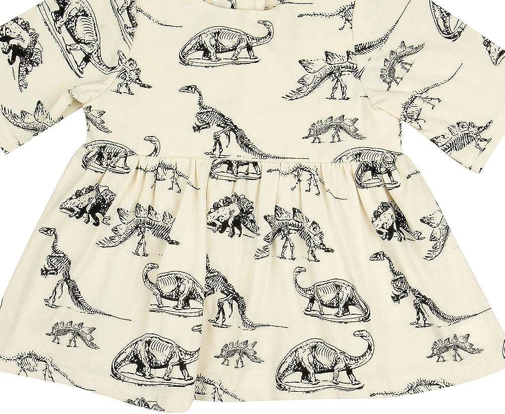 Newborn Baby Girls Dinosaur Print Half Sleeve Tutu Skirts Infant Cotton Dress
