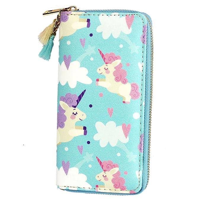Amazon.com: Timlee Cute Rainbow Unicorn - Cartera larga ...
