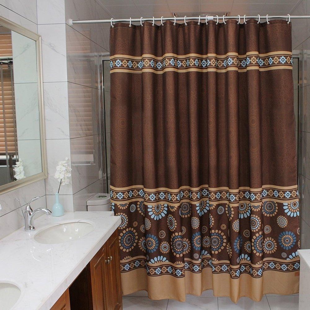 Ufaitheart Bathroom Extra Long Shower Curtain 72 X 78 Inch Waterproof Fabric Home Decorative Curtains Coffee Chocolate Brown Deep Gold Blue