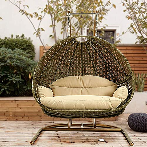 TOME 2 Person Swing Chair with Stand, X-Large Wicker Rattan Hanging Egg Chair Loveseat Chair with Cushion and Cover for Indoor Outdoor Bedroom Patio Garden
