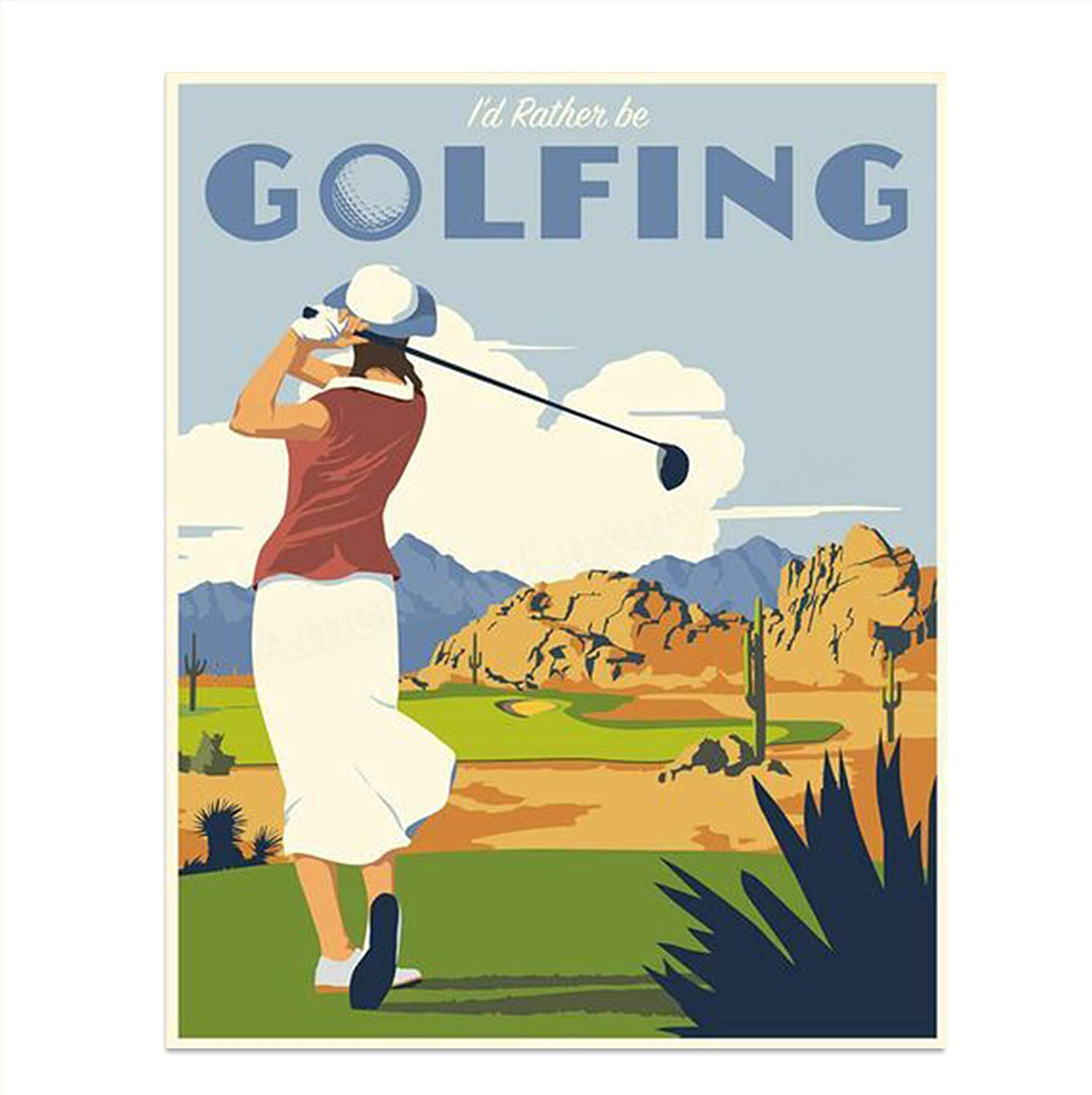 "Woman Golfer On The Tee- Vintage Sign Print- 8 x10""-""I'd Rather Be Golfing""- Retro Golf Art Sign Replicas- Ready To Frame. Home-Office-Club House Decor. Great Gift and Woman Cave-Bar-19th Hole Art."