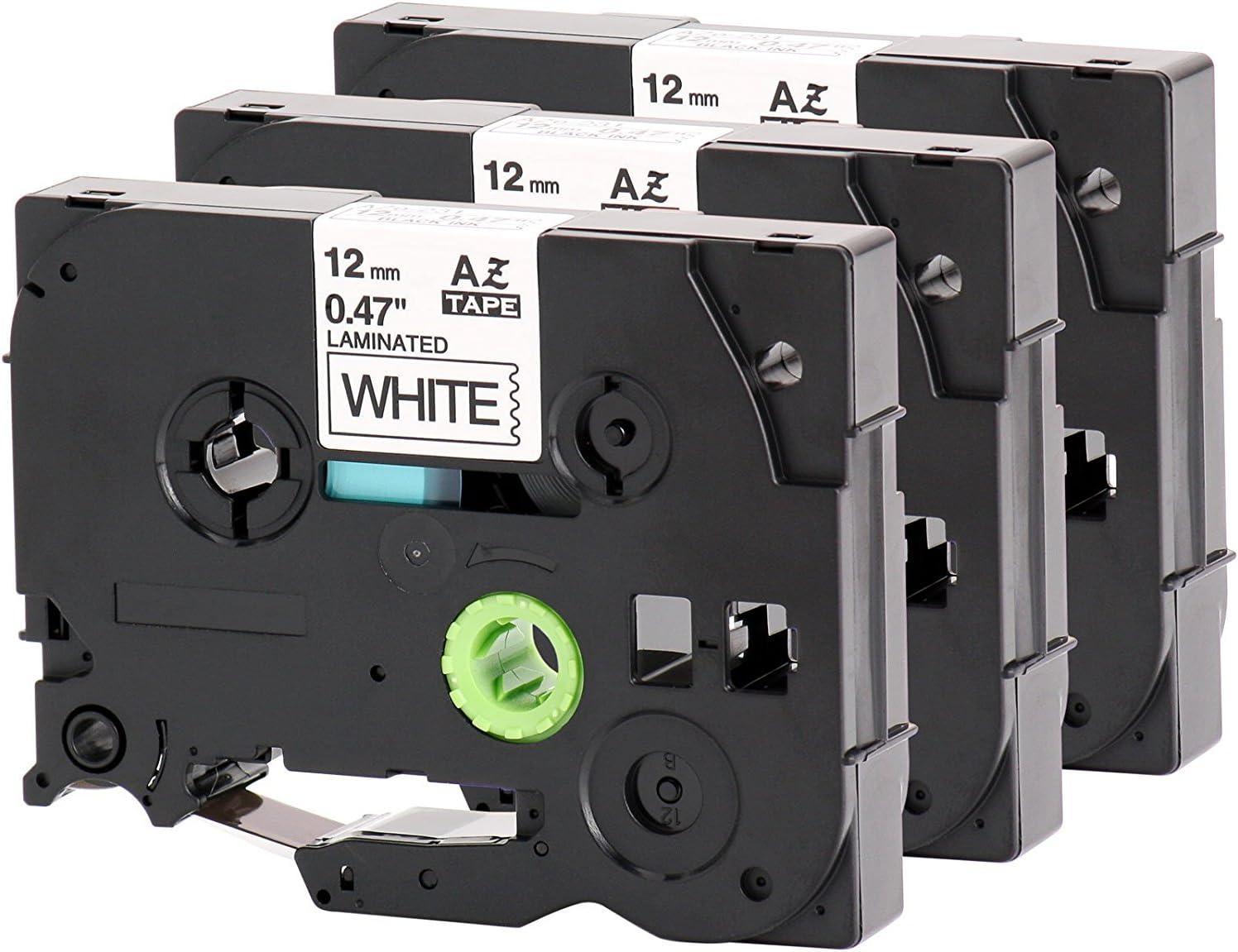 3x SCHRIFTBAND KASSETTE 12mm für BROTHER TZ-231 P-Touch D200 D200VP E300